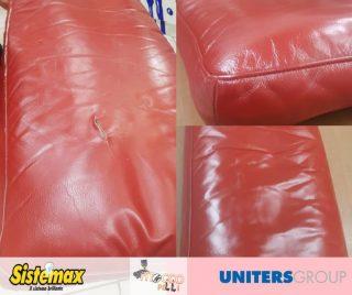 divano in pelle ritoccato dal colorificio tocco
